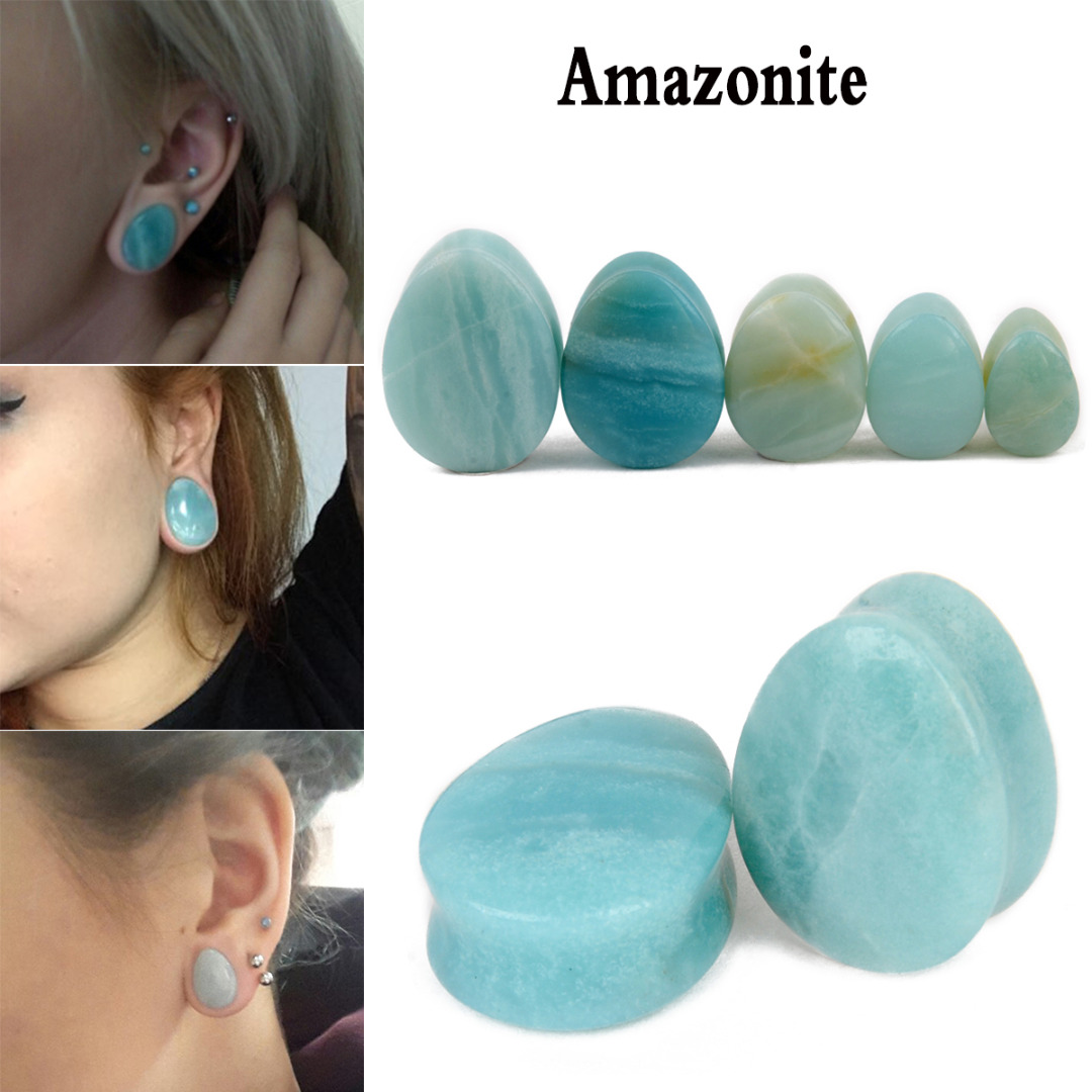 1 Pair Natural Stone Teardrop Ear Plugs Tunnel Shellhard Gauges Ear Expander Stretcher F ...