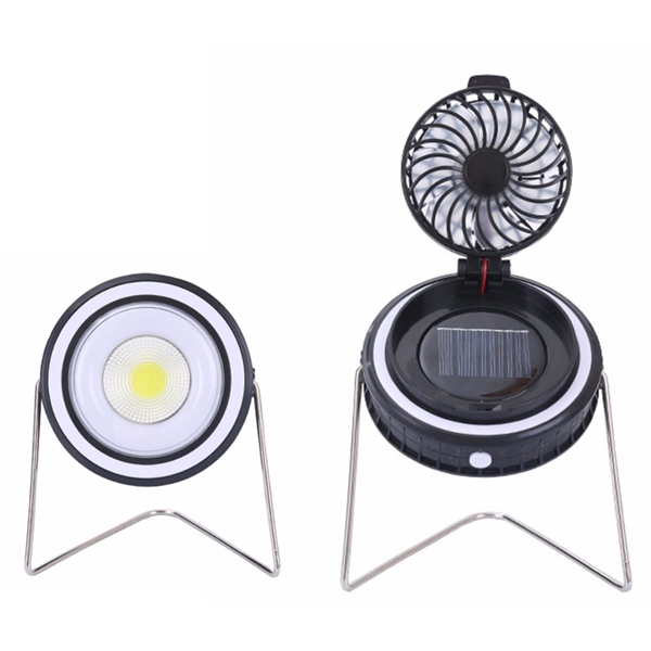 CLAITE LED Portable Camping Tent Light With Rotation Fan 2 in 1 Outdoor Solar Power USB Rechargeable COB