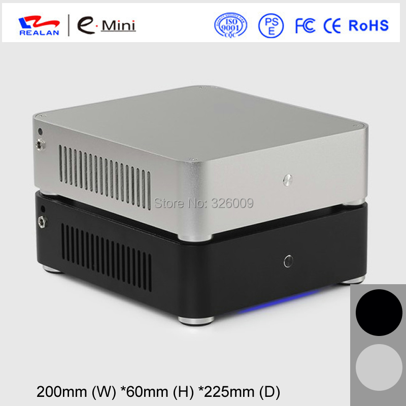 mini-ITX Chassis HTPC aluminum 3.5''HDD support DC-ATX Power mini case of HTPC WIFI COM PCI Audio Ports, Realan W60 jonsbo rm2 aluminum chassis atx small chassis support atx motherboard atx power supply