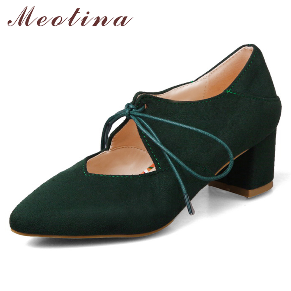 Meotina High Heels Mary Janes Shoes Women Lace Up Thick High Heels Shoes Bow Pointed Toe Pumps Lady Spring Green Plus Size 33-43