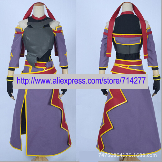 2016 Free shipping Custom Made Purple Yuki Konno Cosplay Costume from Sword Art Online Cosplay