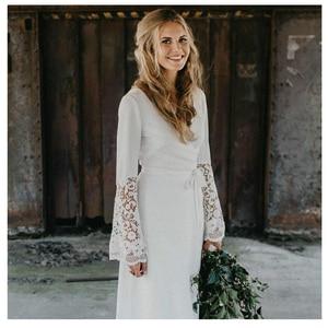 Image 3 - LORIE White Boho Wedding Dresses Lace Flare Sleeves V Neck Princess Bride Dress  Floor Length Wedding Gown 2019