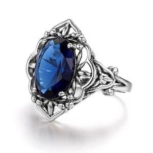 Image 3 - Szjinao Sapphire Rings owalny kwiat elegancki wiktoriański ciemny niebieski kamień szlachetny pierścień 925 Sterling silver Carve Kate Fine Jewelry Wedding