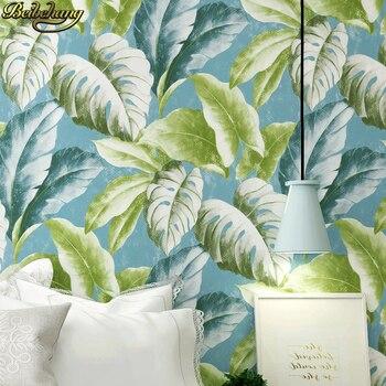 beibehang mural Home Improvement vintage Vintage green leaves Flocking Wallpaper Rolls Traditional Floral Wall paper living room