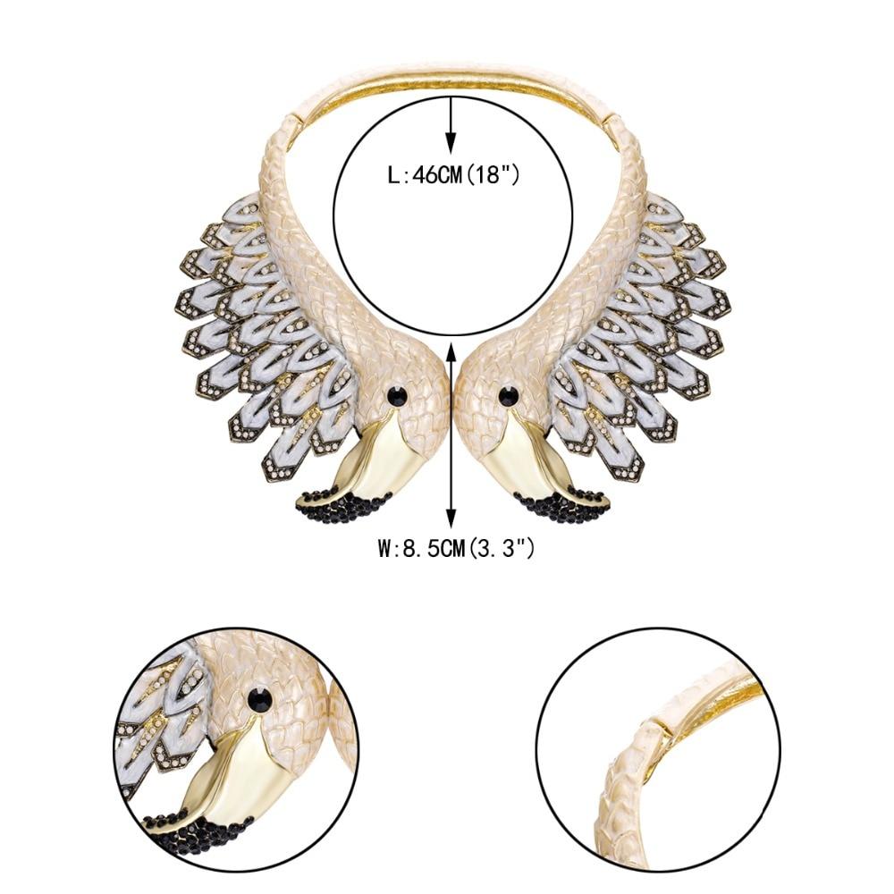 Tuliper émail flamant rose oiseau Animal déclaration collier autrichien cristal strass collier pour les femmes parti bijoux cadeau - 6