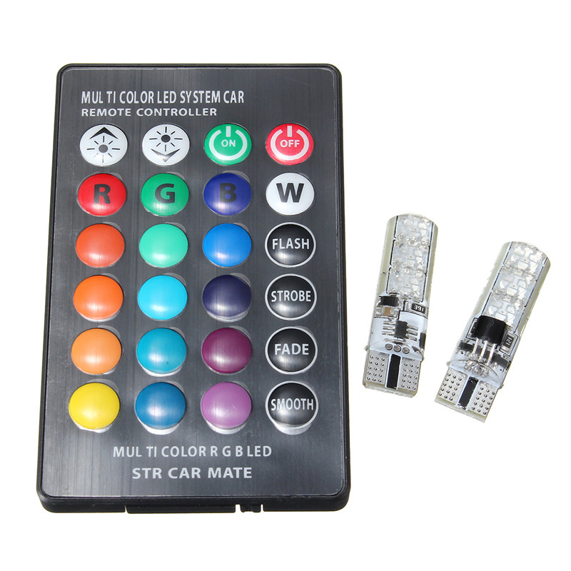 2pcs 5050 SMD RGB LED T10 W5W 194 168 Auto Car Wedge Side Light Multi Color LED Demo Lamp Bulb With Remote Controller Strobe