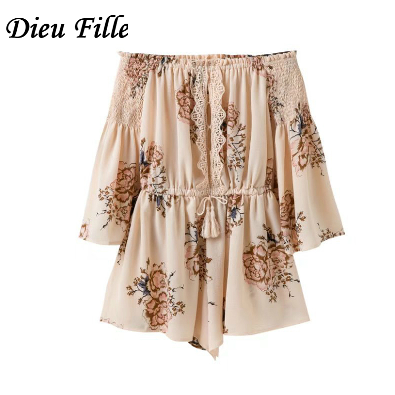 Dieu Fille Summer Boho Beach Sexy Playsuit Hight Waist Rompers Off Shoulder Print Sashes Womens Jumpsuit Lace Rompers Shorts