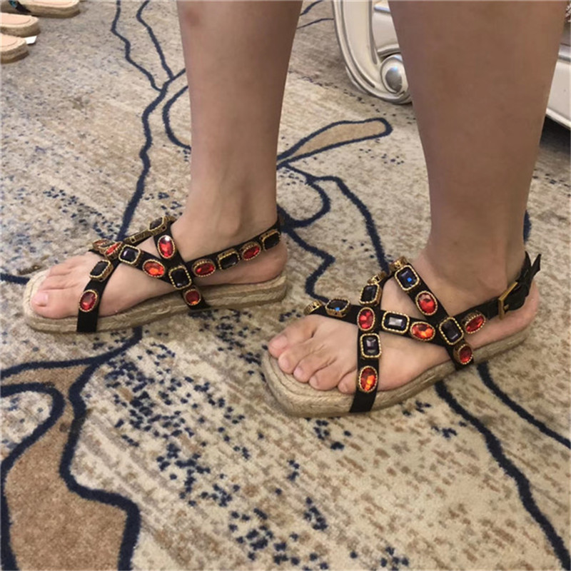 Di cristallo Pescatore Sandali Delle Donne a Fondo Piatto Corda di Canapa di Estate Sandali Sandali di Cuoio di Modo Open Toe Pantofole di Strass Femminile All'aperto-in Scarpe con tacco basso da Scarpe su  Gruppo 3