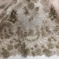 brown gold lace appliques for wedding dresses 3d for clothing tulle lace fabric
