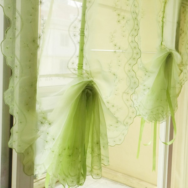 Embroidered green balloon curtain for living room finished pull up curtain kitchen curtain for Balloon curtains for living room