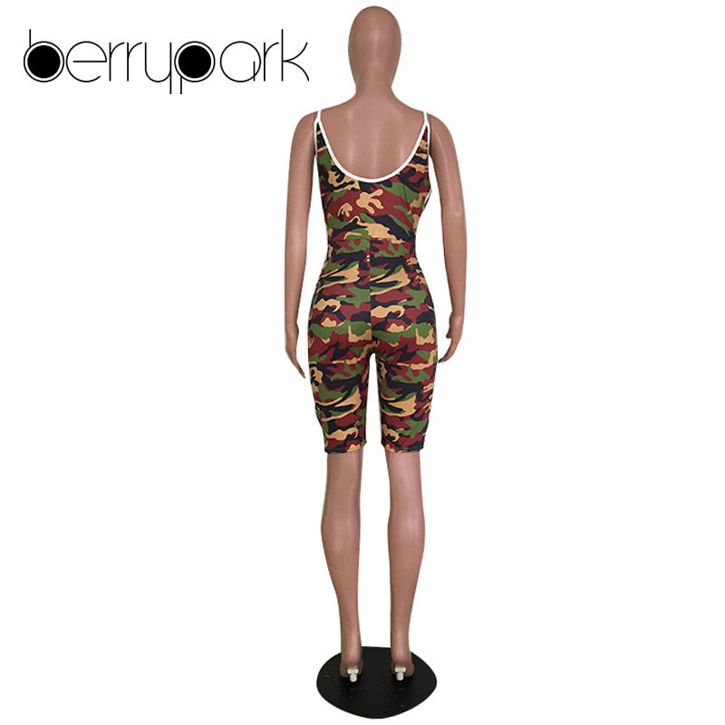 f20d7baec4110 BerryPark Plus Size Camouflage Jumpsuit for Women Casual Side Stripe Street  Overalls Bodycon Shorts Bodysuit Camo Sexy Playsuit-in Rompers from Women s  ...
