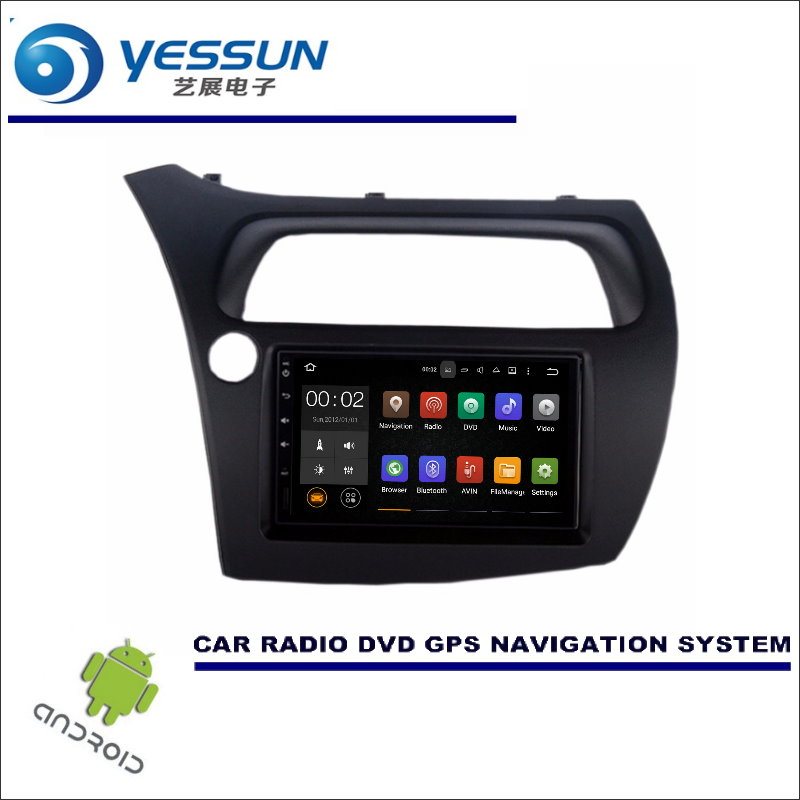 YESSUN Android Car Multimedia Navigation For Honda Civic 2006-2012 Hatchback GPS Player Navi Radio Stereo HD Screen no CD DVD yessun android car navigation gps for hyundai santa fe 2006 2012 audio video hd touch screen stereo multimedia player no cd dvd