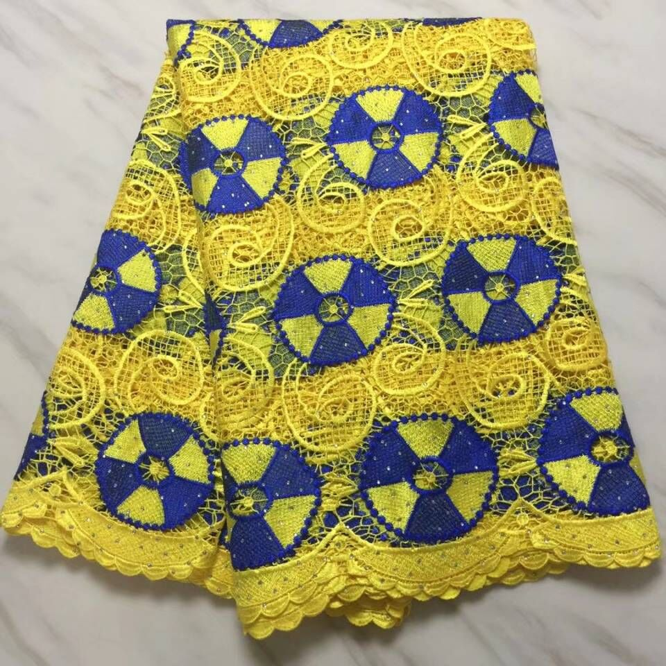 5 Yards/pc New fashion yellow african water soluble lace and blue embroidery french cord lace fabric for clothes BW148-135 Yards/pc New fashion yellow african water soluble lace and blue embroidery french cord lace fabric for clothes BW148-13