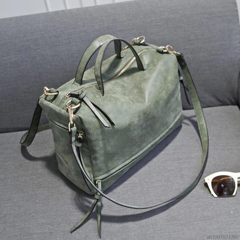 Fashion Big Womens Bags Velour Soft Leather Handbag Grey Woman ...