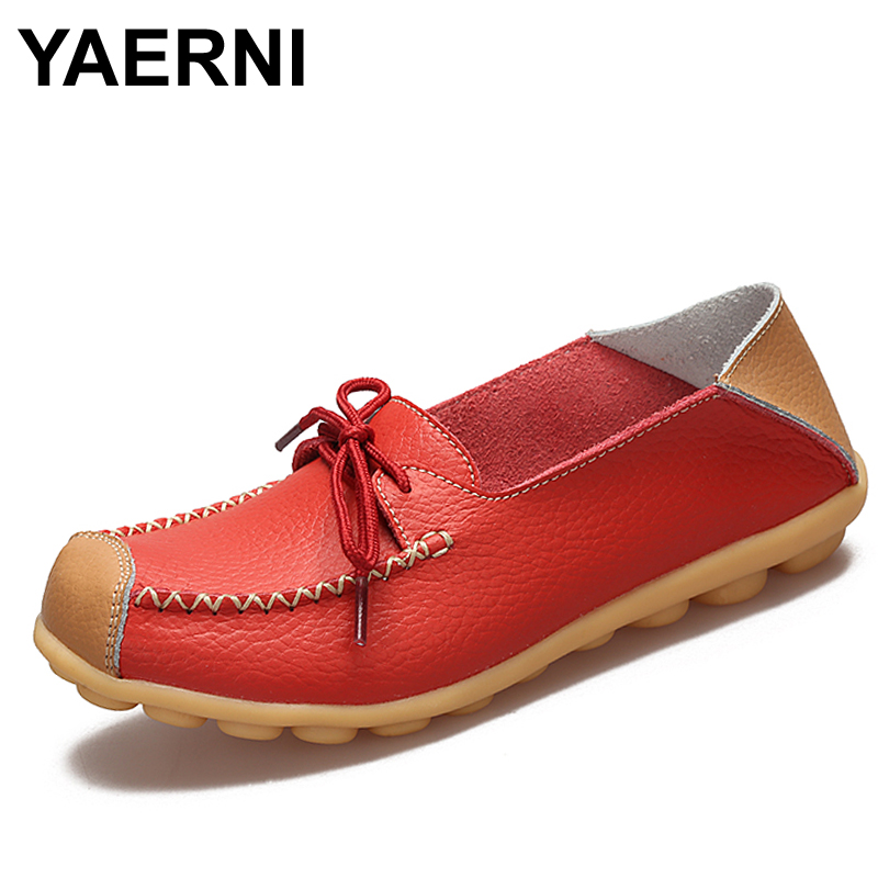 YAERNI Women's Shoes Flats Genuine Leather Mother Shoes Girls Ladies Casual Shoes Comfortable Breathable Women Loafers Moccasins top brand high quality genuine leather casual men shoes cow suede comfortable loafers soft breathable shoes men flats warm