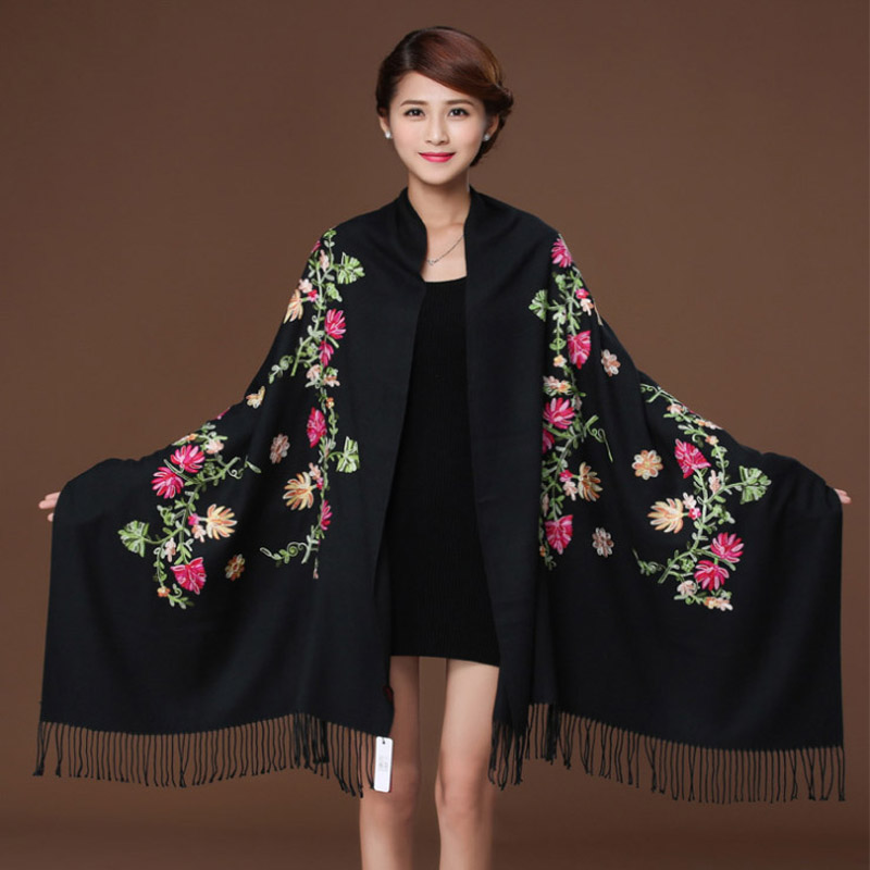 Black Embroider Flower Pashmina Cashmere Scarf For Women Winter Warm Fine Tassels Scarf Shawl Fashion Shawl Scarves 111819