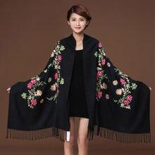 Black Embroider Flower Pashmina Cashmere Scarf For Women Winter Warm Fine  Tassels Scarf Shawl Fashion Shawl Scarves 111819 5bedbb689ff