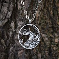 SanLan 1pcs Horse Necklace Horse Jewelry Equestrian Pewter Horse On Silver Chain Christmas Gift