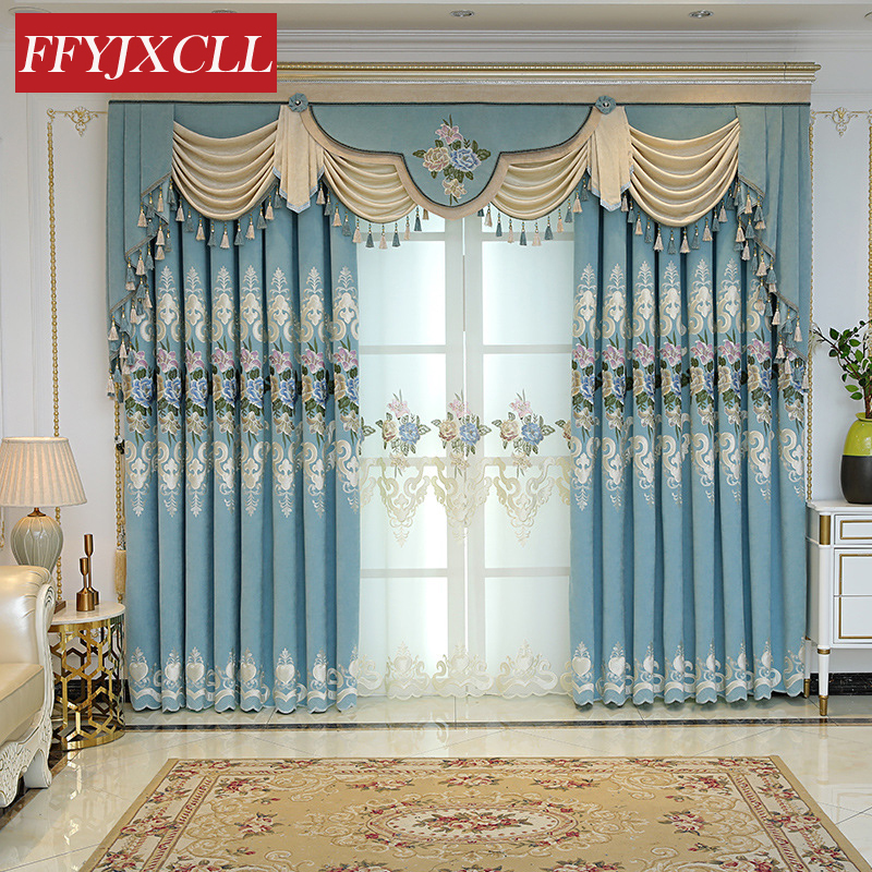 Korean Embroidered Curtains For Living Room Luxury Jacquard Floral Curtains For Bedroom Blackout Curtains Window Drapes Valance