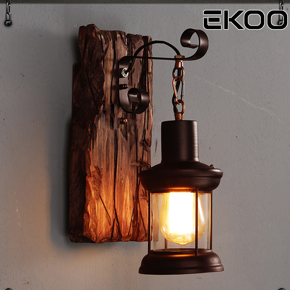 EKOO Vintage Industrial Retro Wood Sconce Cafe Bar Wall Lamp Fixture Wall Loft Light