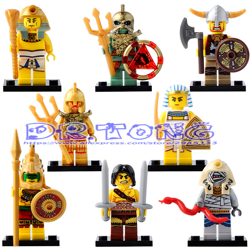 DR.TONG Single Sale Medieval Egyptian Warrior Pharaoh Atlantis Mummy Barbarian Super Heroes Building Blocks Child Gift Toy X0161