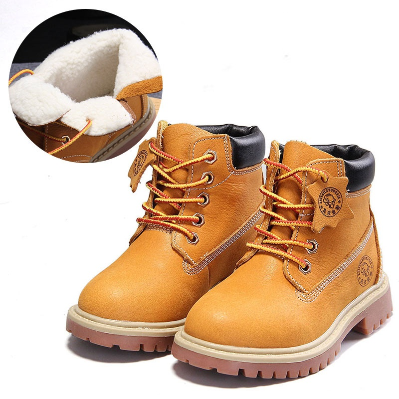 Xingbahou Children Autumn Winter Shoes Boys Genuine Leather Boots Girls Warm Martin Boots Good Quality Sneakers 1011 2014 new autumn and winter children s shoes ankle boots leather single boots bow princess boys and girls shoes y 451