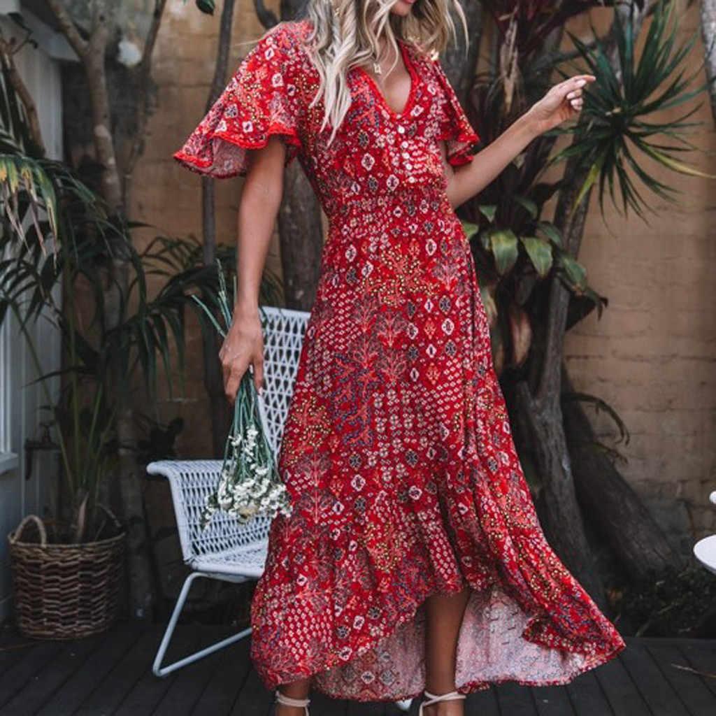 Feitong ผู้หญิง _ _ _ _ _ _ _ _ _ _ _ _ _ _ _ _ _ _ _ _ เซ็กซี่ทรัมเป็ตแขนเสื้อพิมพ์ V - Neck สไตล์แห่งชาติชุด vestidos de fiesta largos # w30