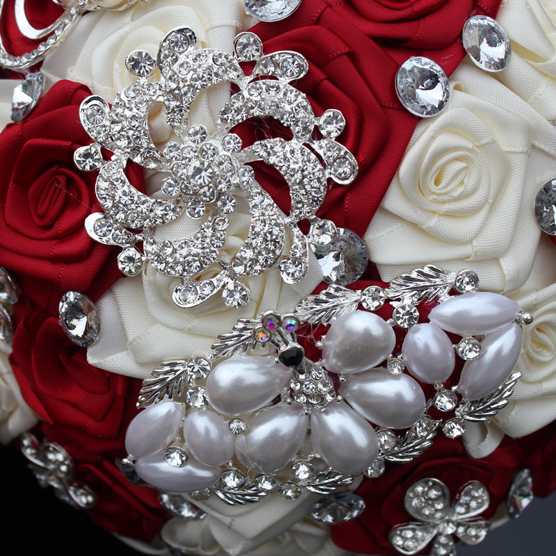 WifeLai-A 1PC Custom Stunning Röd Ivory Wedding Bouquet Crystal - Bröllopstillbehör - Foto 6