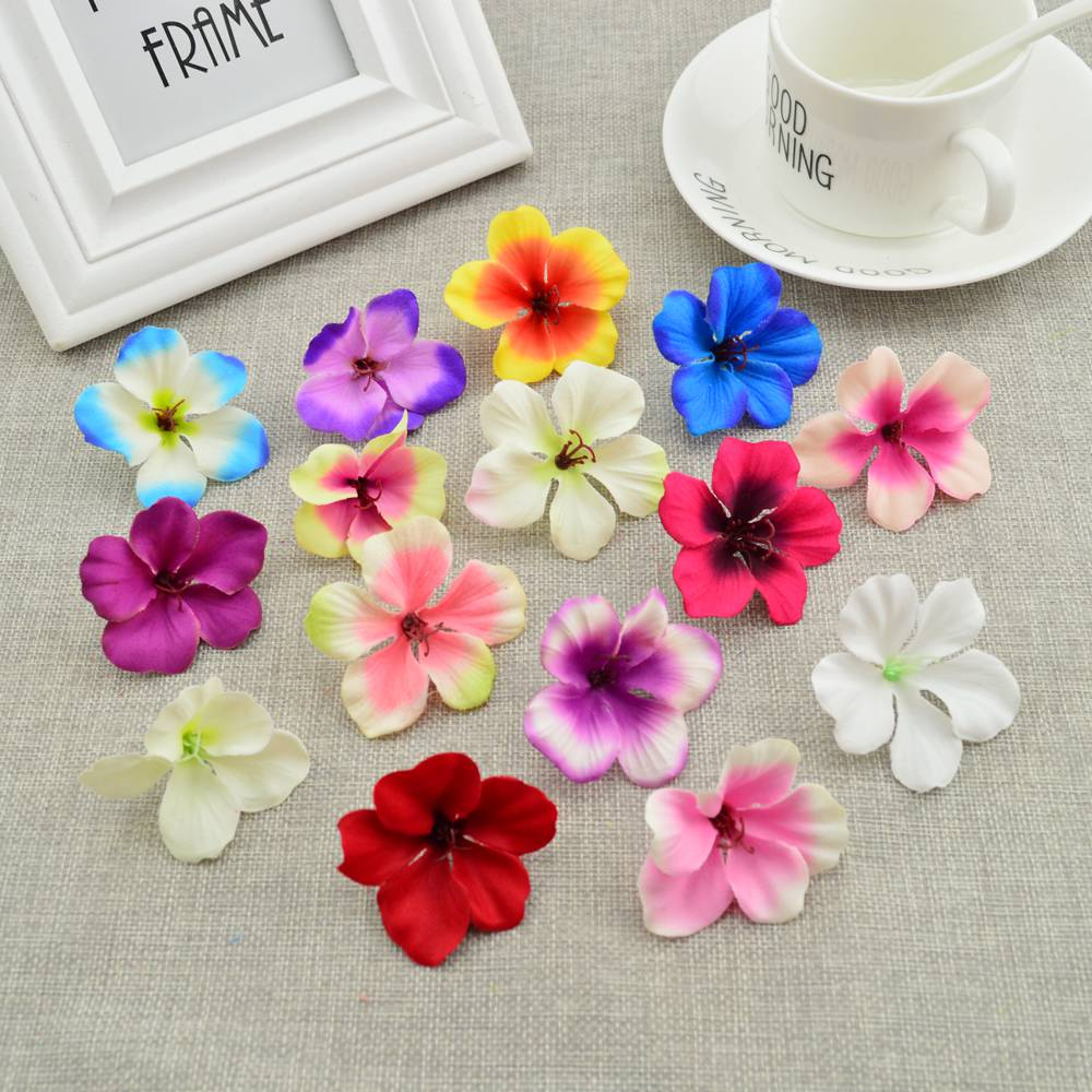 50pcs cheap Silk rose head Orchid artificial flowers for home wedding decoration accessories pompon diy Cherry needlework