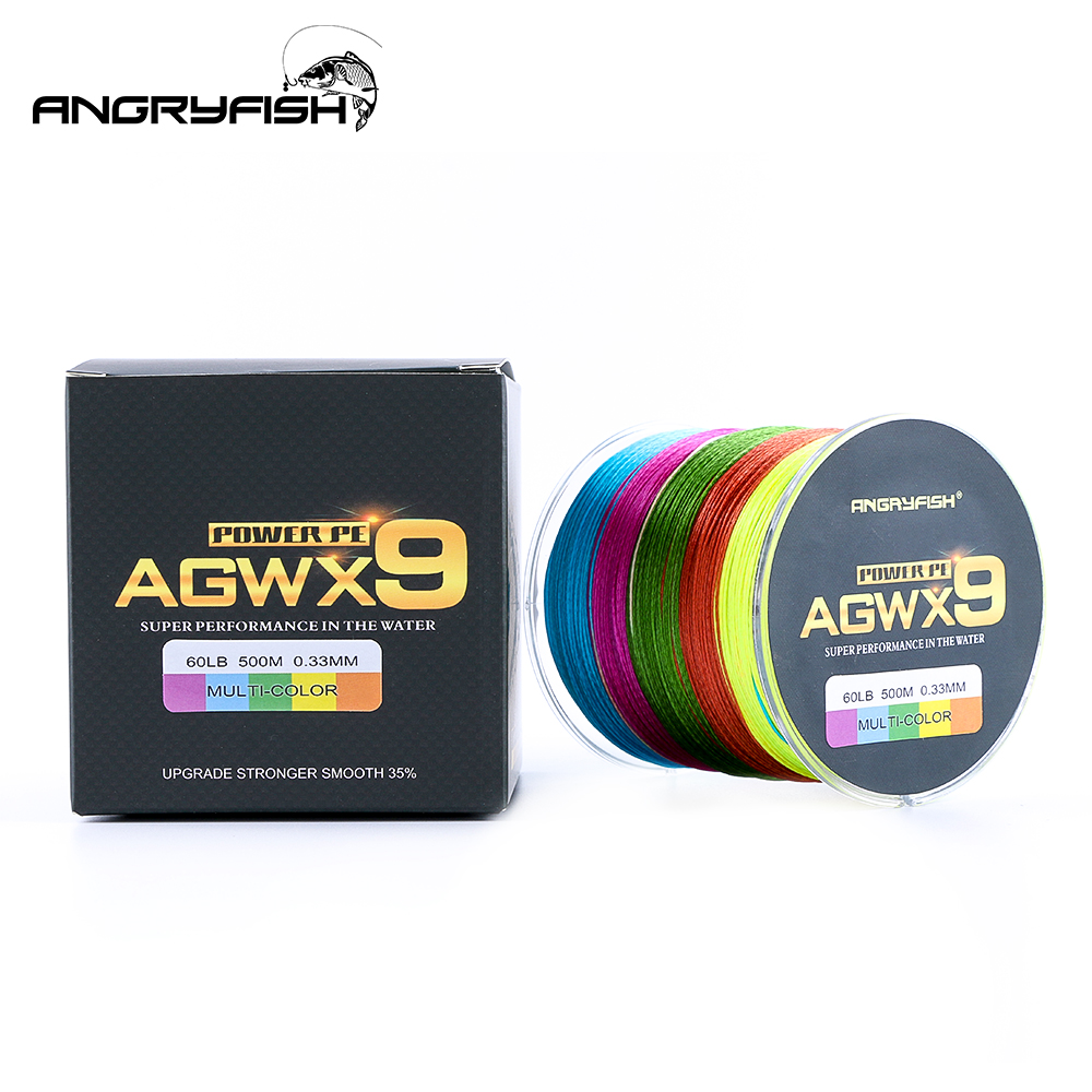 Angryfish 500M 9 Strands Super Multicolor PE Braided Fishing Line Strong Strength Fish Line-in Fishing Lines from Sports & Entertainment