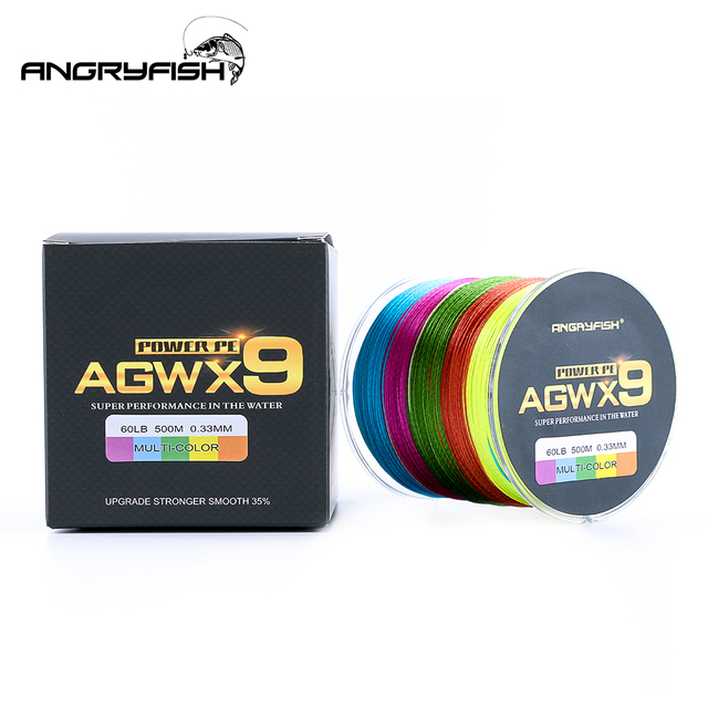 Angryfish 500M 9 Strands Super Multicolor PE Braided Fishing Line Strong Strength Fish Line