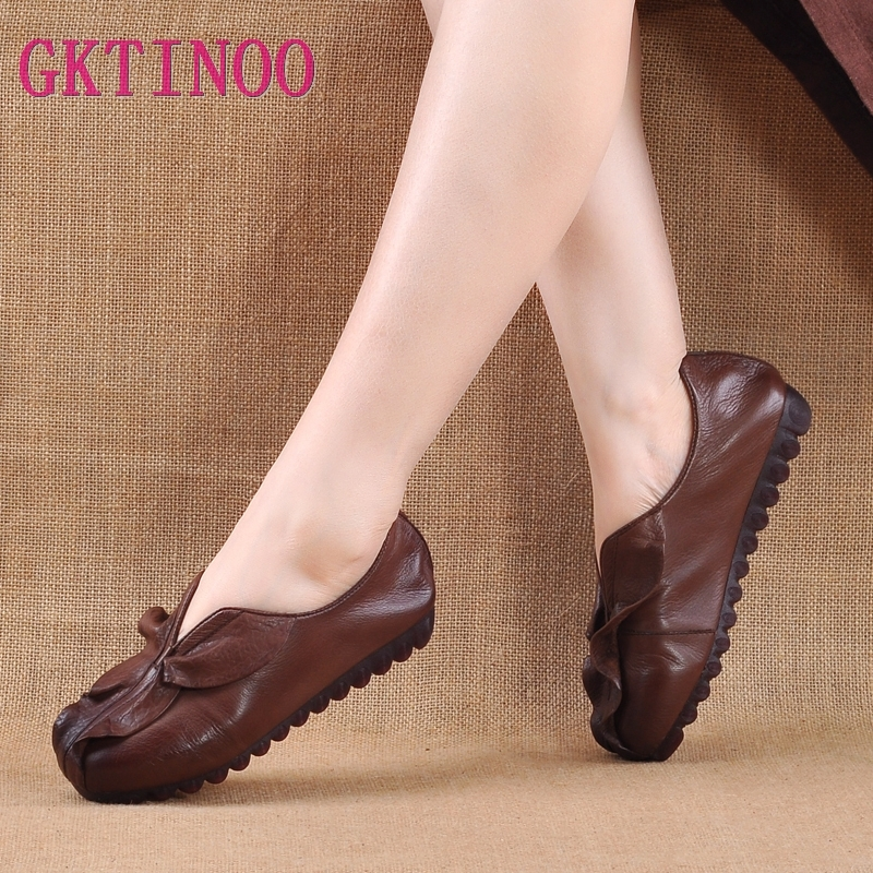 GKTINOO Genuine Leather Flat Shoes Woman Handmade Cow Leather Loafers Flexible Spring Casual shoes woman Loafers