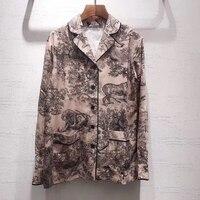 Мода 100% шелковая блузка женская 2019 брендовая Офисная Леди Питер Пэн воротник блузка Высококачественная фланелевая блузка для женщин