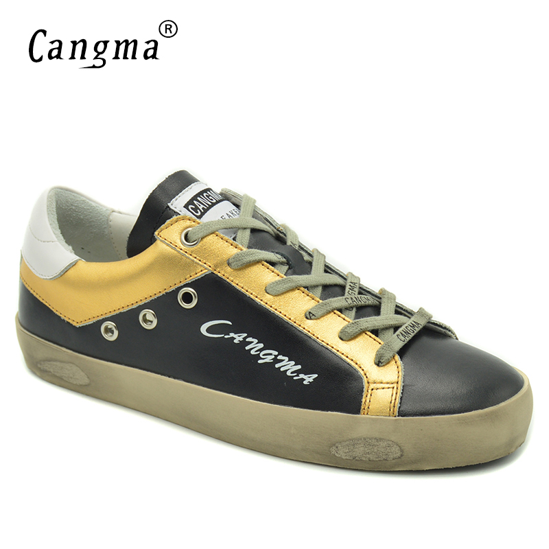 CANGMA font b 2017 b font Autumn Women Casual Shoes Luxury Brand Shoes Black Genuine Leather