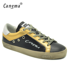 CANGMA 2017 Autumn Women Casual Shoes Luxury Brand Shoes Black Genuine Leather Sneakers Female Flats Retro Footwear Plus Size