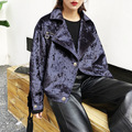 [TWOTWINSTYLE] 2017 осень зима алмазов бархат слой воздуха профиль мотоцикл куртка женщин пальто с длинным рукавом новая мода 4 цвет