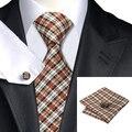 Rosybrown C-283 Lazo Para Hombre Marrón Negro A Cuadros de Seda Jacquard Corbata Para Los Hombres Corbata Hanky Gemelos Set de Boda de Negocios