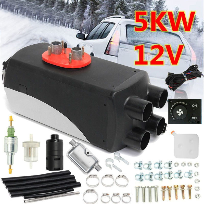 5KW 12 v Diesels 4 Trous Air Chauffage auxiliaire Set Véhicule Chauffe-Ventilateur pour SUV Camion Bateau Van Camping-Car D'échappement silencieux Silencieux Livraison