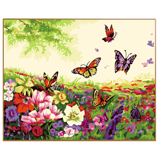 PHKV Spring Landscape Flowers And Butterflies Drawing On Canvas Coloring By  Numbers Hand Painted Oil Painting By Number Wall Art
