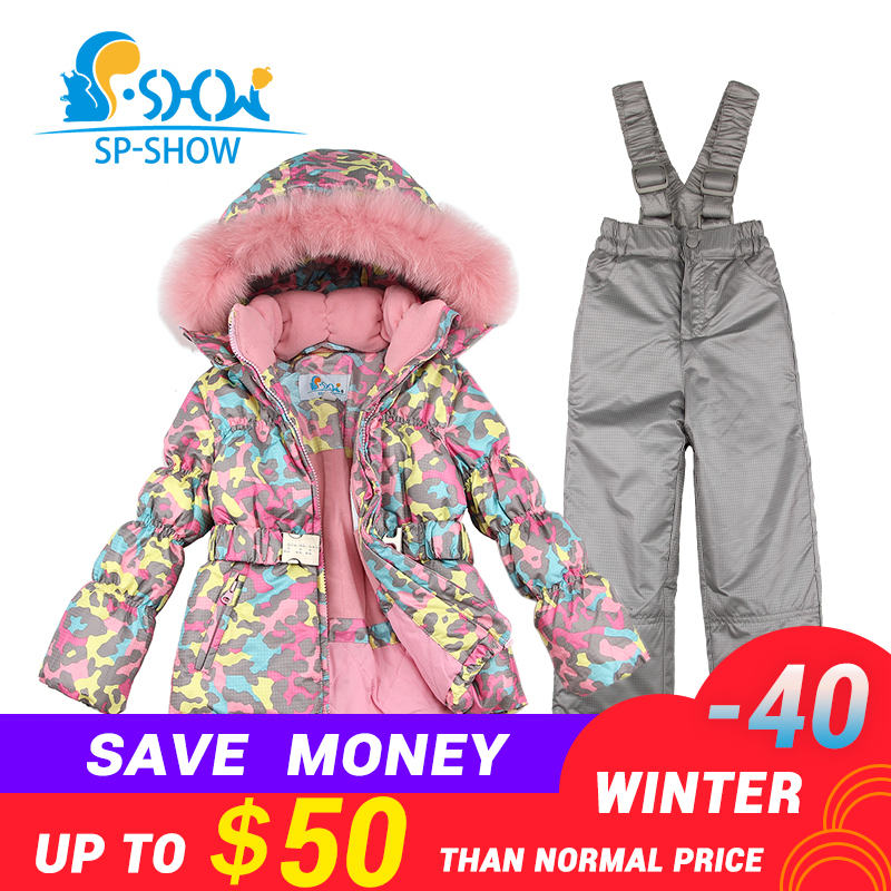 BUY 1 SUIT GET 1 FREE SCARF -30 degrees SP-SHOW Winter 90% White down suit nature fur hat Thick Warm Fleece Down suit Ski Suit suit lemoniade suit