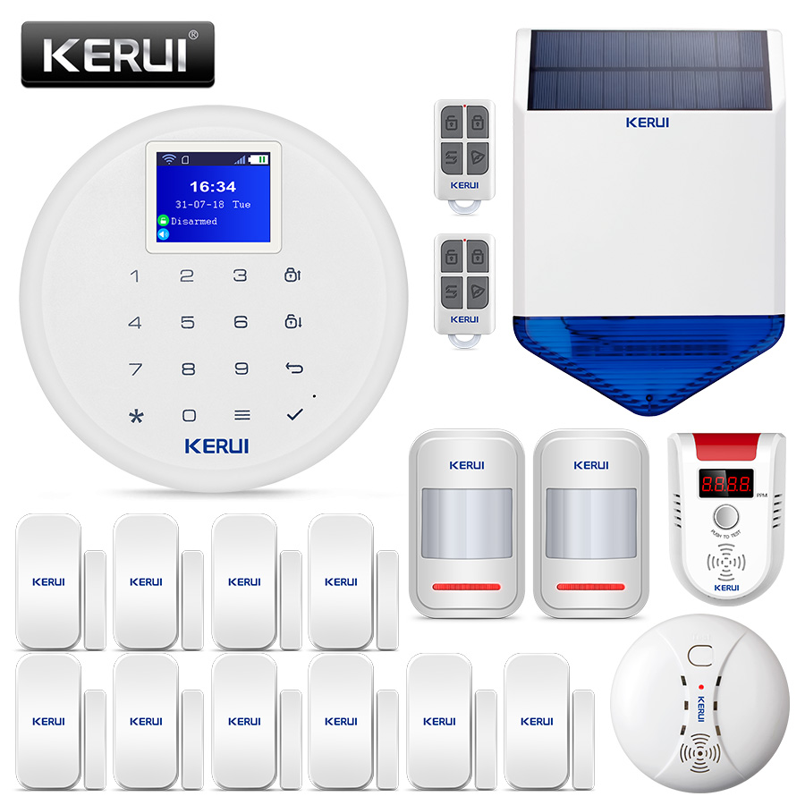 KERUI New W17 Wifi GSM Alarm Systems Security Home With Gas Sensor EN RU ES DE IT FR Switch Home Alarm Kit APP Control Signaling