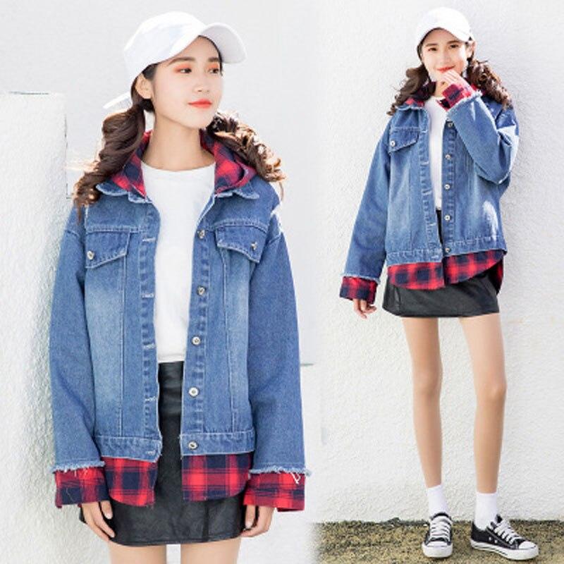 2018 New Autumn Loose bomber Jeans   Jacket   For Women Plaid splicing Harajuku Winter   basic     jacket   denim women's clothes D0920