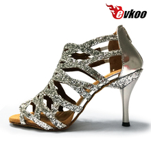 Evkoodance Hot New Design Professional Leather Sole Salsa Ballroom 8.5cm Heel  Latin Dancing Shoes For Women 5 Colors Evkoo-381