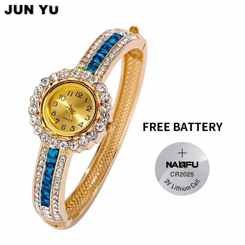 7cfb56d3e3a JUNYU 2017 Hot Senhoras de Luxo Strass Pulseira de Relógio De Quartzo Das Mulheres  relógios pulseira de Relógio de Pulso Das Mulheres 6 cores