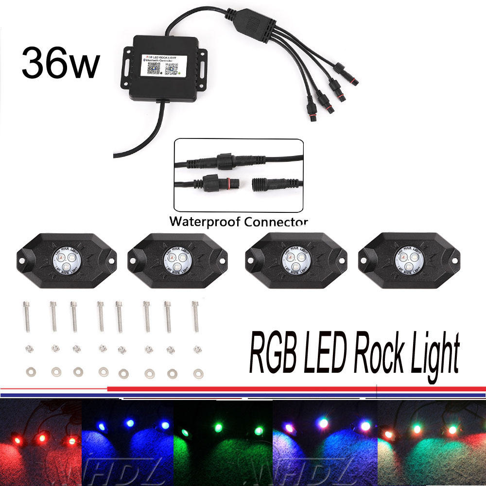 4x Pod RGB LED Rock Lights Kit w Bluetooth For Jeep Truck SUV Off Road Boat