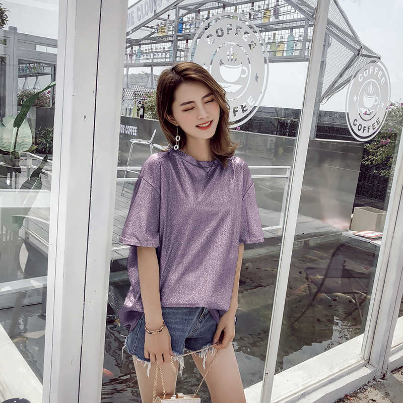 e5eb5e9de5 2018 Ulzzang Women's T-shirts Ladies Fashion Glitter Tshirt Sequin Women  Tops T shirts Gold Silver Black Loose tee shirt femme