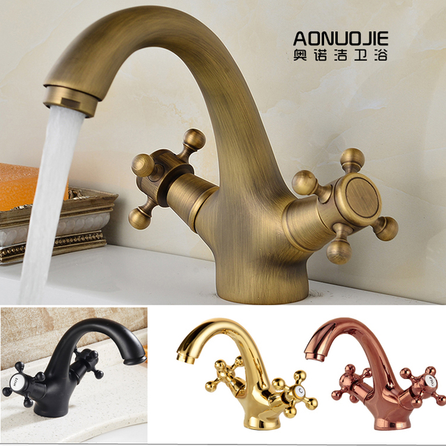 Kitchen Faucets Br Bronze Brushed Polished Black Rose Gold Bathroom Faucet Dual Handles Holes Mixer