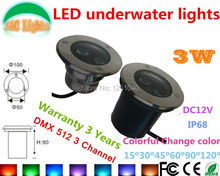 DMX512 Control Change Color RGB 3W Underwater LED Light 12V Waterproof IP68 Swimming Pool Lights CE RoHS Pond Lamp Fountain Lamp new 9w led underwater light 12v 24v 110v 220v 85 265v outdoor ip68 waterproof buried lights dmx512 color swimming pool light ce