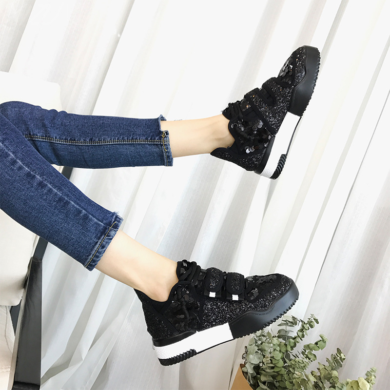 ... Breathable Brand Glitter Vulcanized Sneaker Fashion Bling Shoe Girl  Shoes Lady Leisure Casual Women 2018 Sequins ... ac7df2badc97
