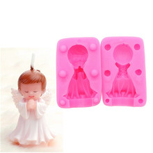 Gadgets Fondant Molds Little Boy Silicone Mold  3D Angel Praying Candle Baby Party Cake Decorating